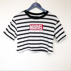 Forever 21 Marvel Striped Crop Top Tee